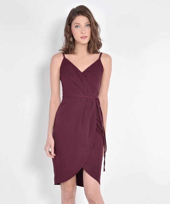 Lisbon Tulip Dress - Maroon (Backorder)