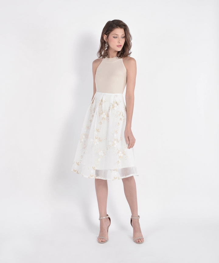 Eve Mesh Floral Skirt - White