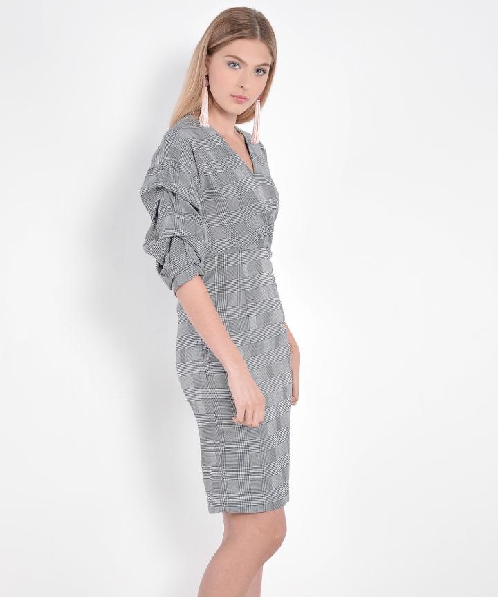 Pandora Checkered Ruched Dress (Restock)