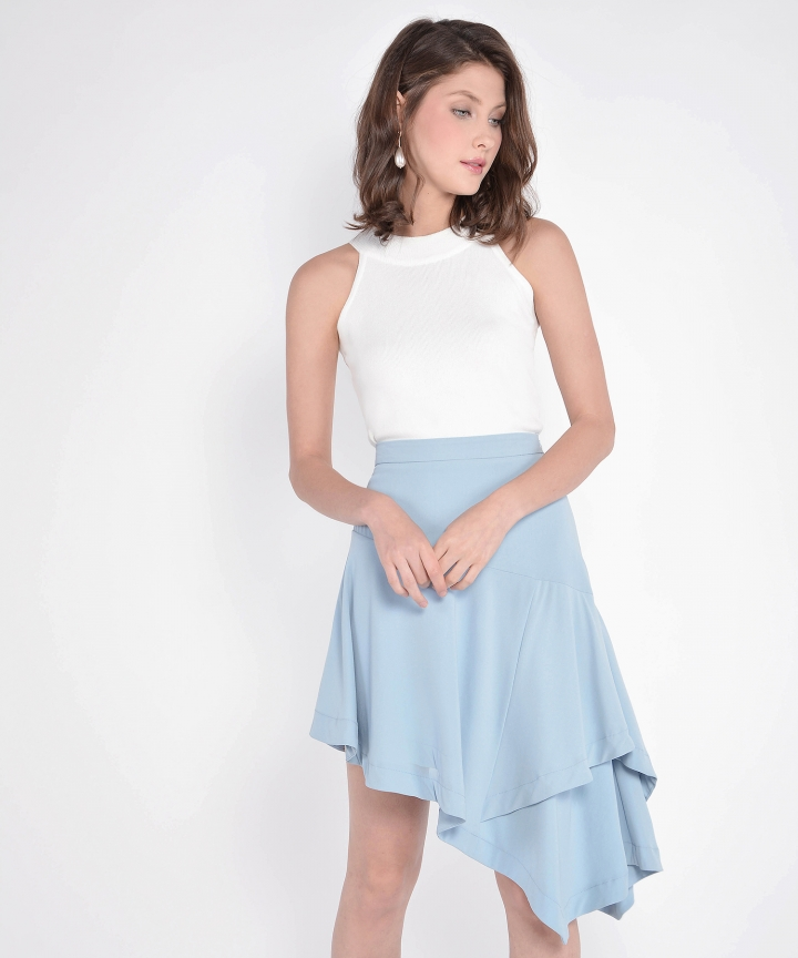Lourdes Asymmetrical Skirt - Pale Blue