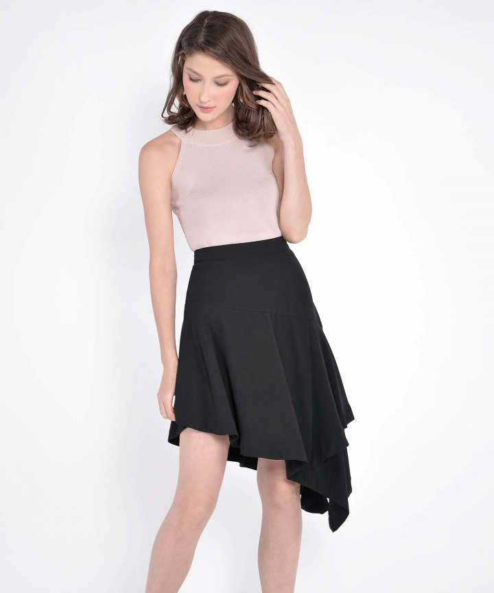 Lourdes Asymmetrical Skirt - Black