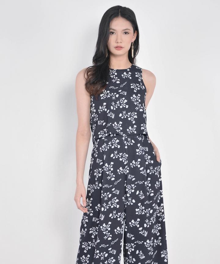 Alanis Floral Culotte Jumpsuit - Black