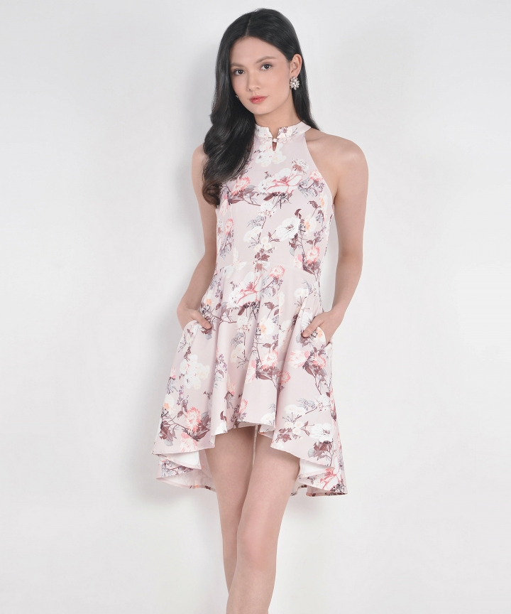 Renaissance Asymmetrical Dress - Pale Pink