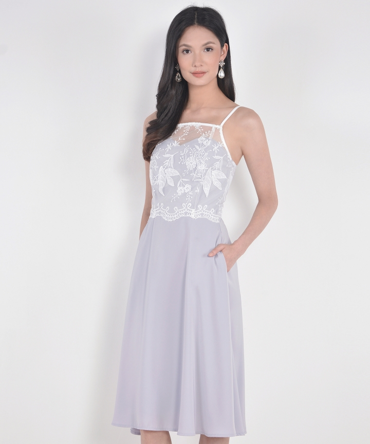 Isabelle Lace Overlay Midi - Pale Lavender