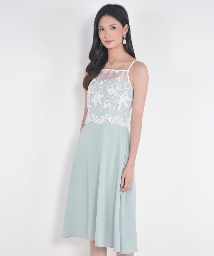 Isabelle Lace Overlay Midi - Pale Mint