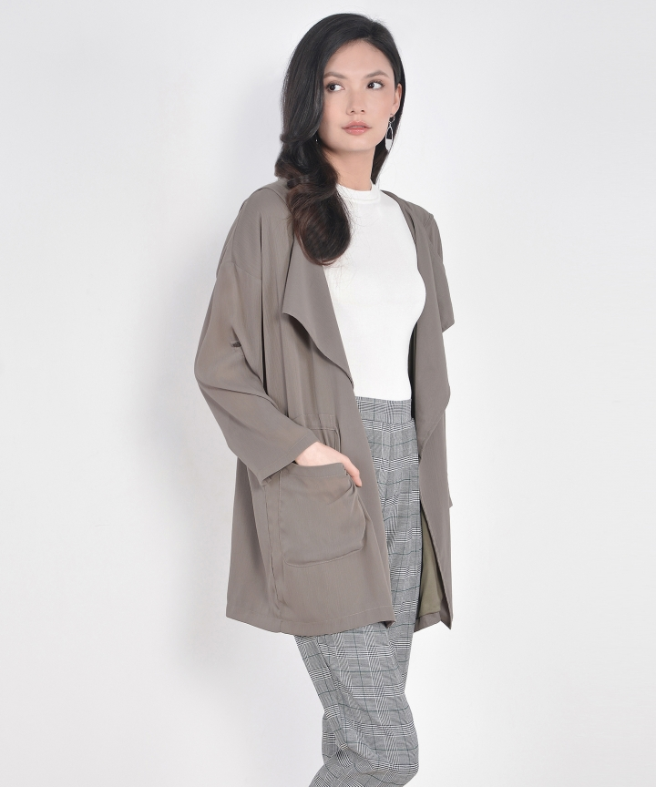 Milan Oversized Outerwear - Pale Olive