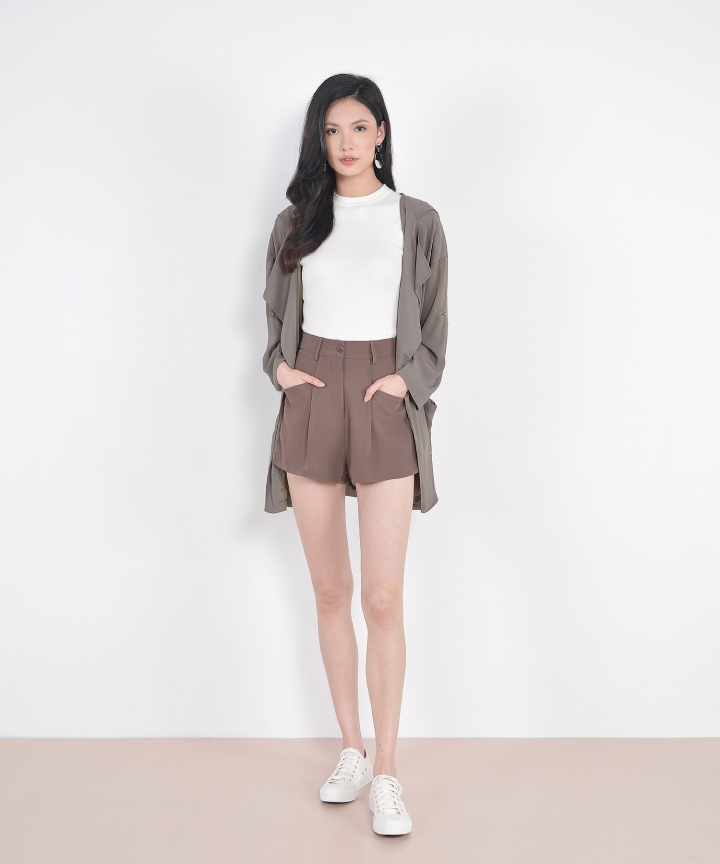 Laura Belted Shorts - Walnut Brown