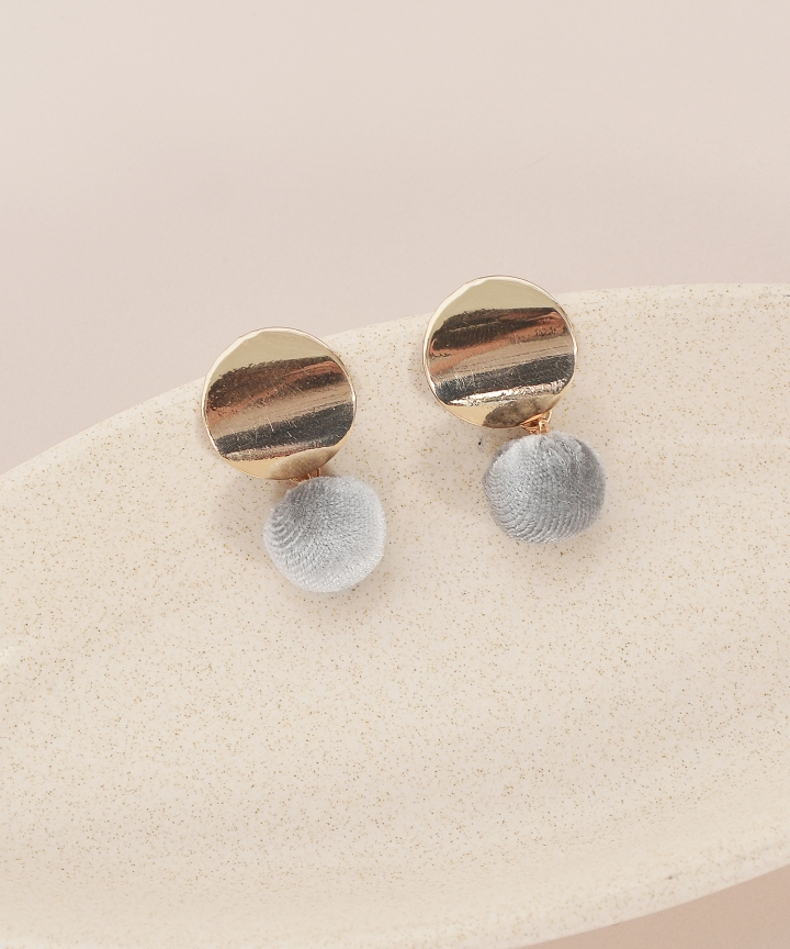 Stud Furry Earrings - Grey