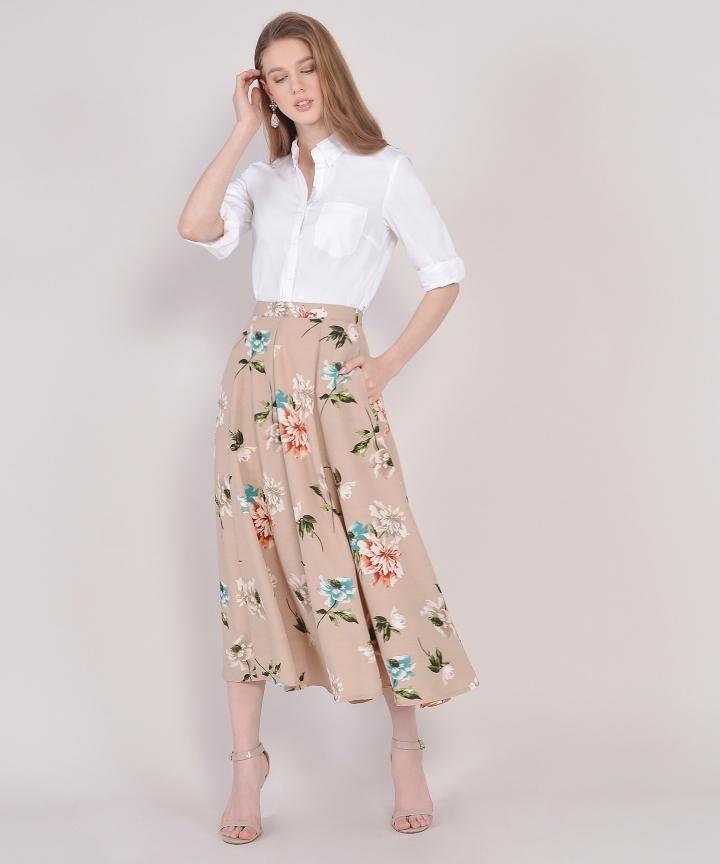 Florentine Midi Skirt - Nude Pink