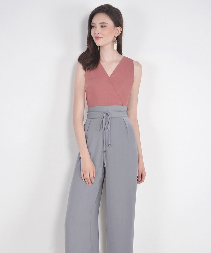 Sachi High Waist Trousers - Grey (Restock)