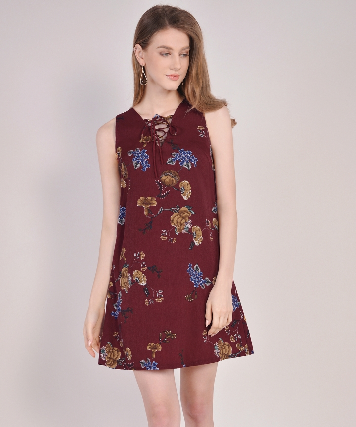 Vintage Floral Lace Up Dress - Wine