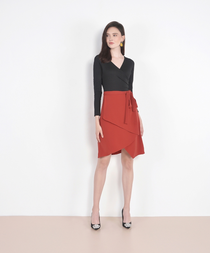 Dorset Asymmetrical Tiered Skirt - Dark Amber