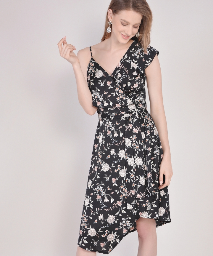 Blanchett Floral Asymmetrical Midi - Black