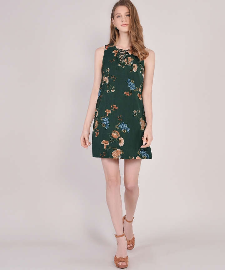 Vintage Floral Lace Up Dress - Forest Green