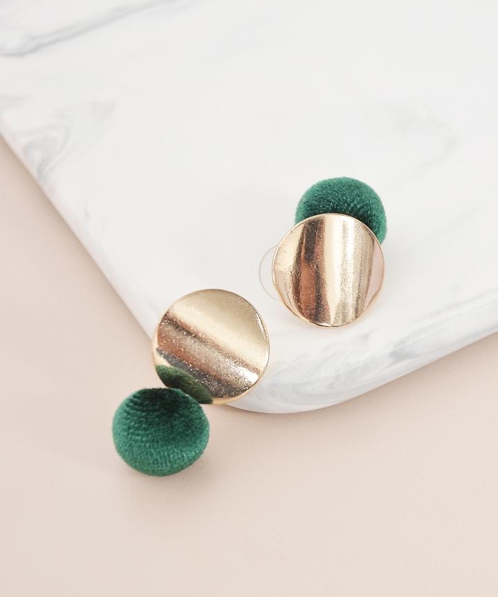 Stud Furry Earrings - Green