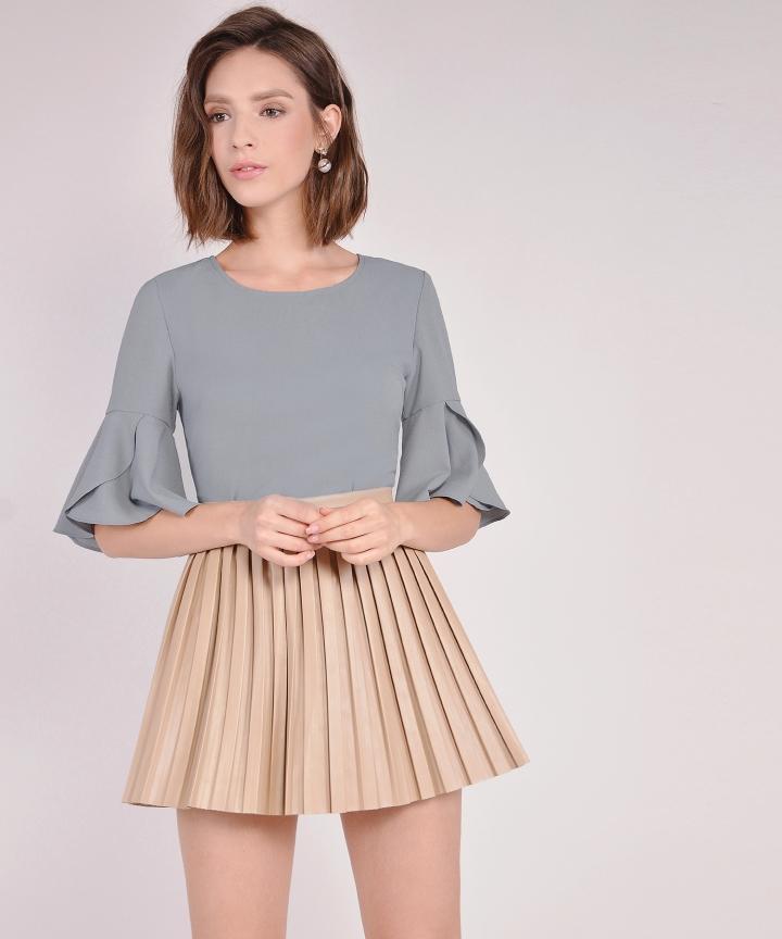 Tulip Sleeve Blouse - Blue Grey