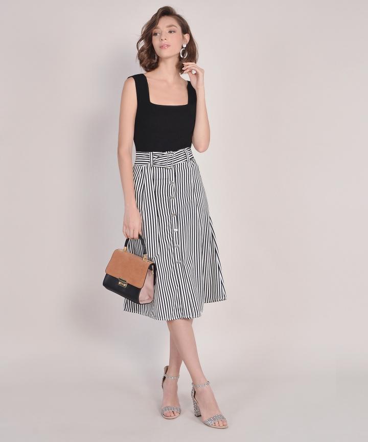 Monochrome Striped Midi Skirt