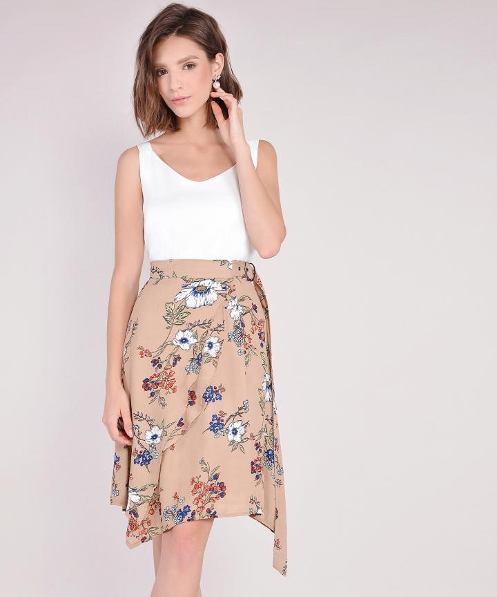 Esmerelda Floral Skirt - Sand