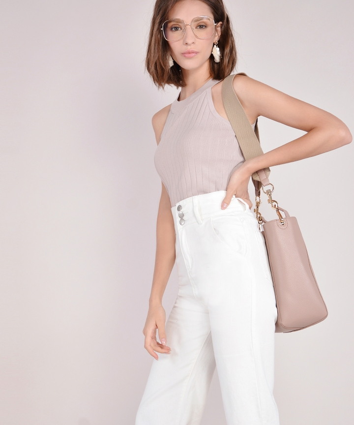Perry High Waist Denim Culottes - White