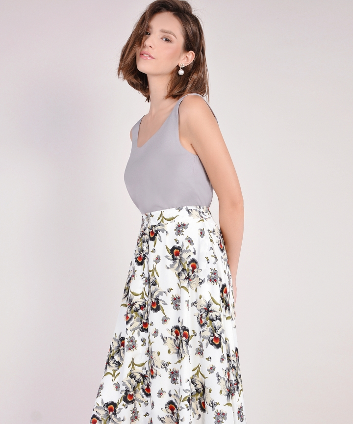 Heather Floral Midi Skirt - White