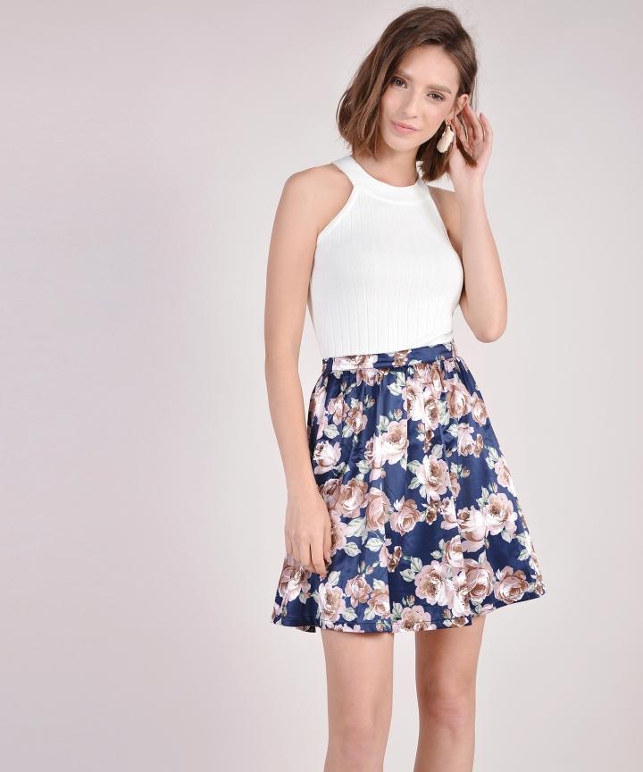 Winslet Floral Skirt - Navy