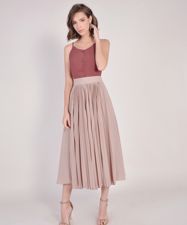 Éclair Pleat Midi Skirt - Sand