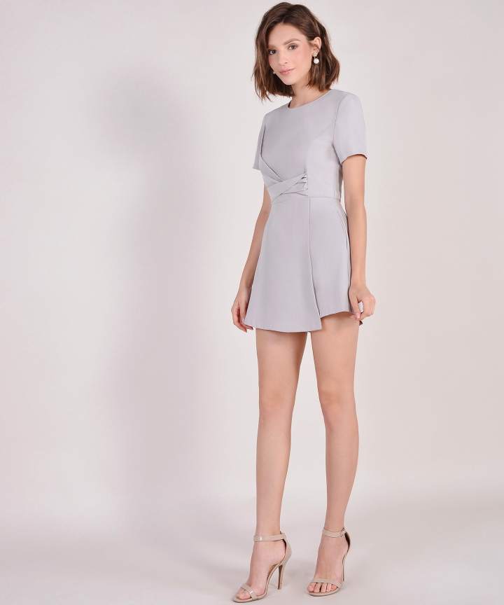 Gail Overlay Playsuit - Pale Grey