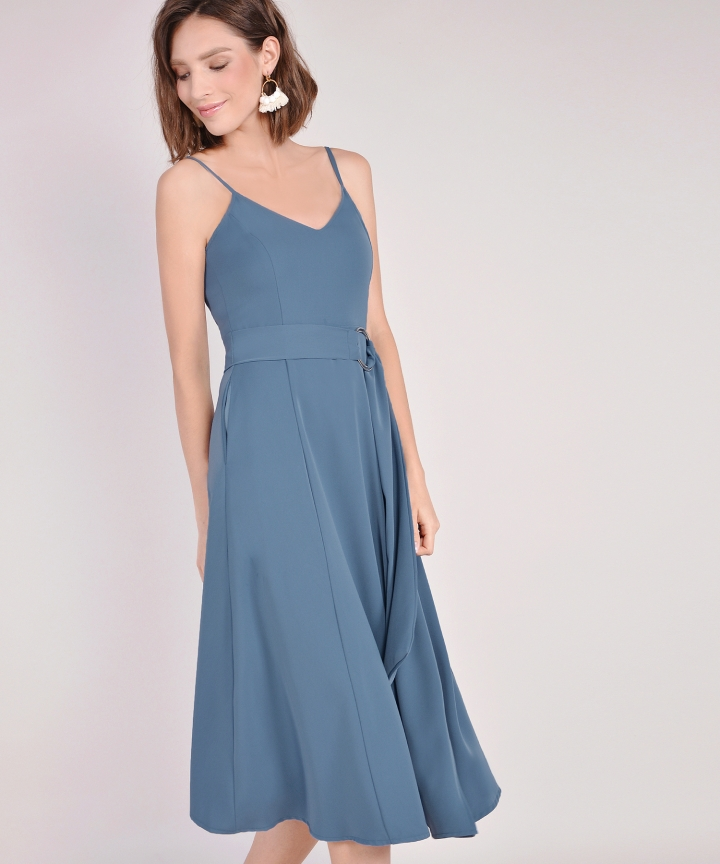 Montana Belted Midi - Dust Blue