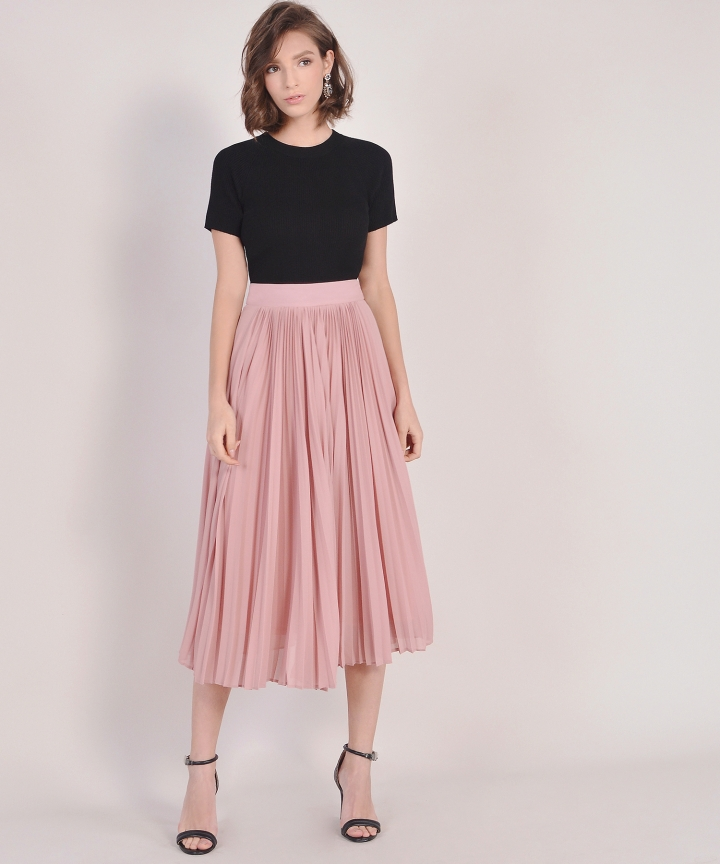 Éclair Pleat Midi Skirt - Rose Pink