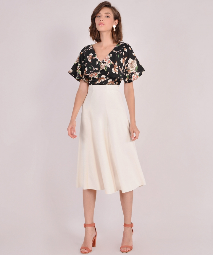 Lavina Midi Skirt - Cream