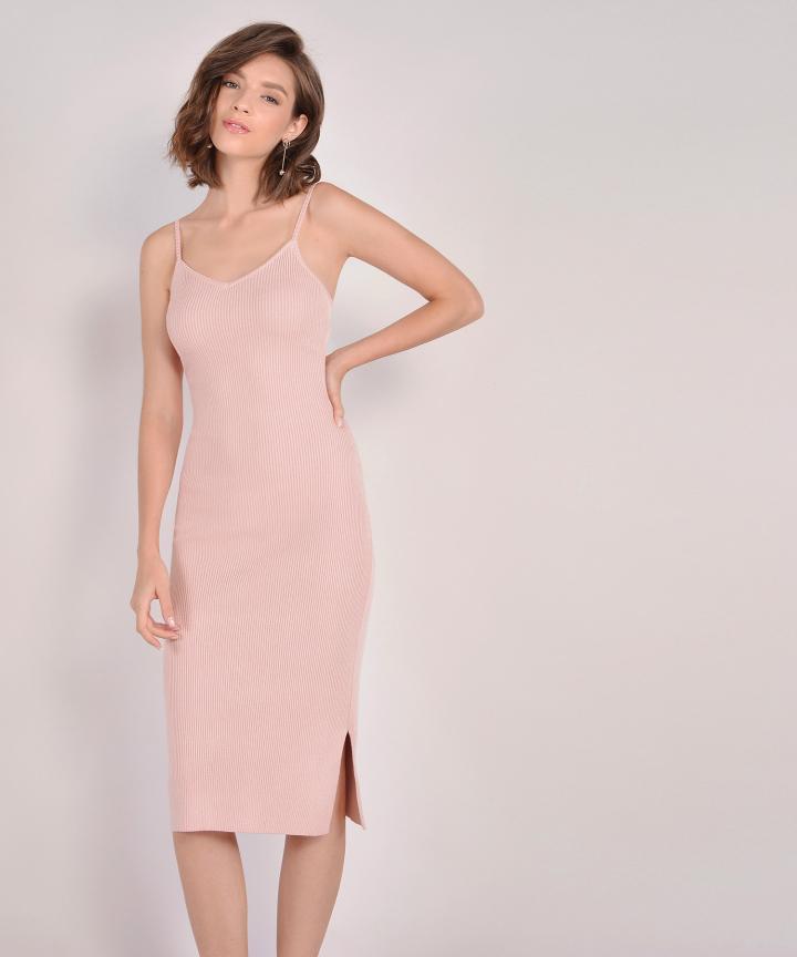 Penelope Knit Midi - Pale Pink