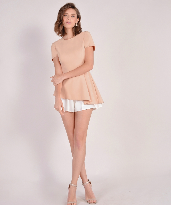 Bianca Asymmetrical Top - Pale Peach