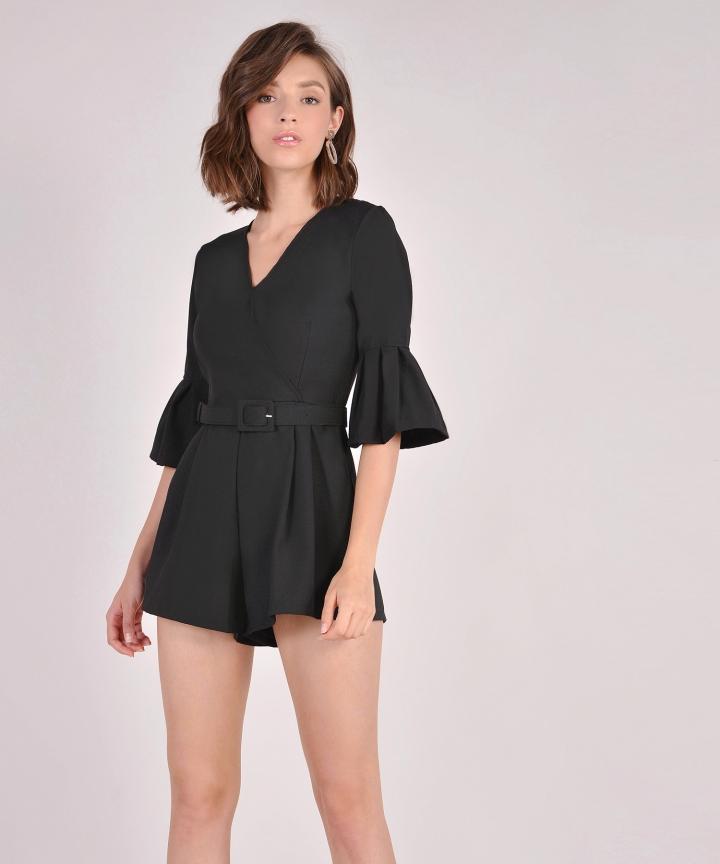 Suki Belted Playsuit - Black