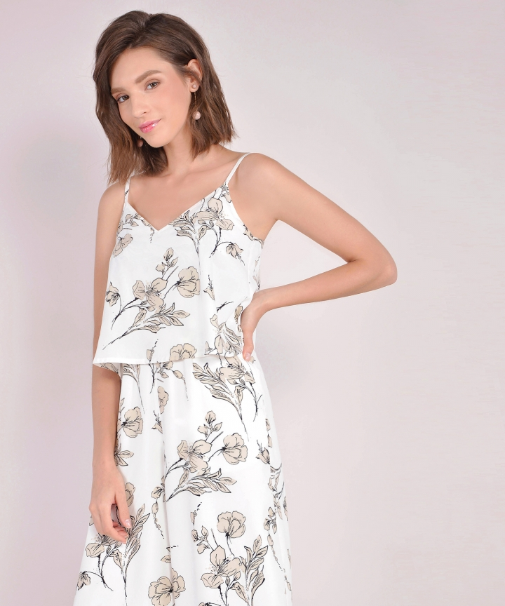 Daffodil Overlay Jumpsuit - White