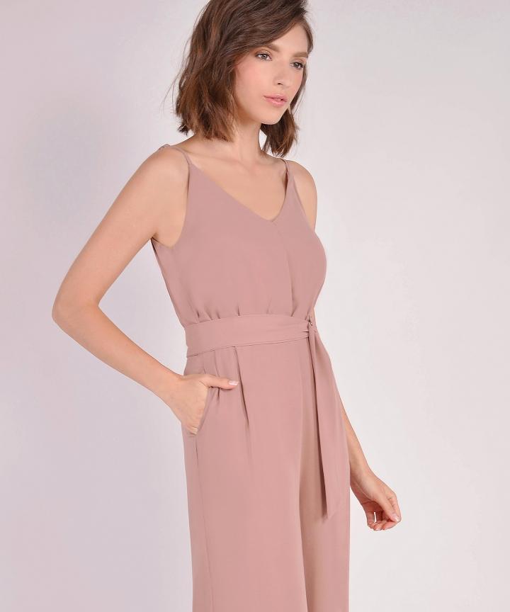 Hera Belted Jumpsuit - Dusk Pink