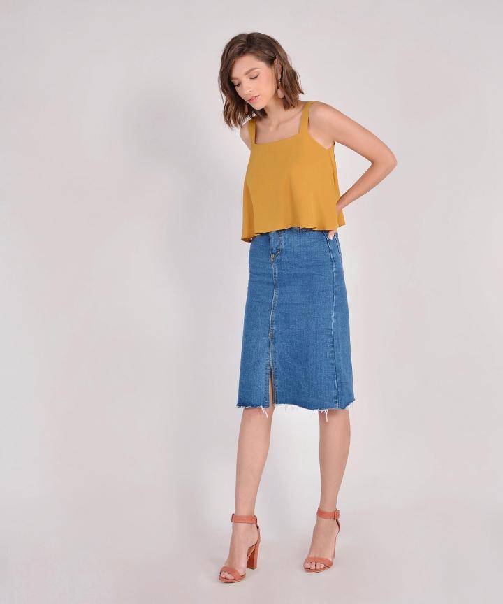 Marcella Denim Midi Skirt - Dark Blue