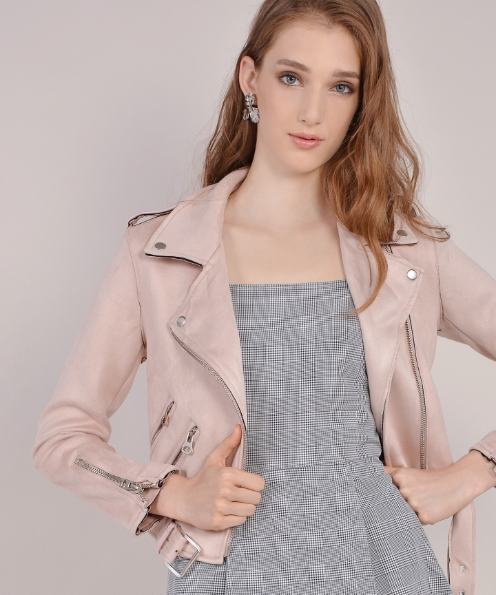 Harley Suede Jacket - Pale Pink (Backorder)