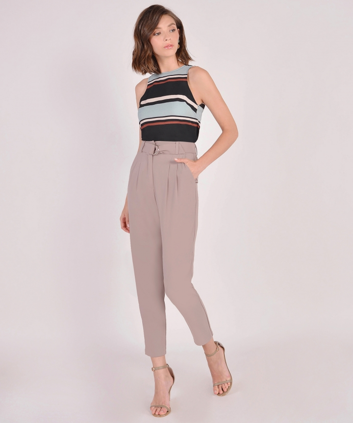 Camille Belted Trousers - Taupe