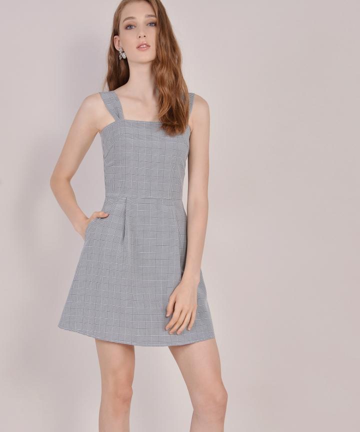 Edith Checkered Dress - Black