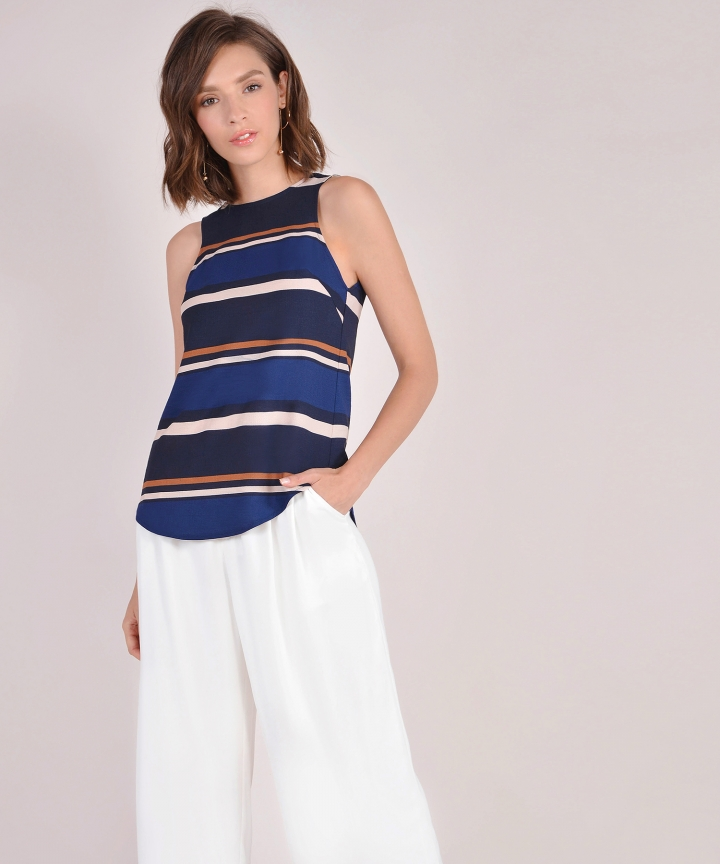 Valencia Striped Tank - Navy