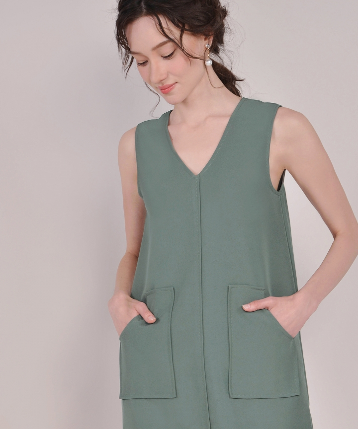 Melrose Shift Dress - Pine Green
