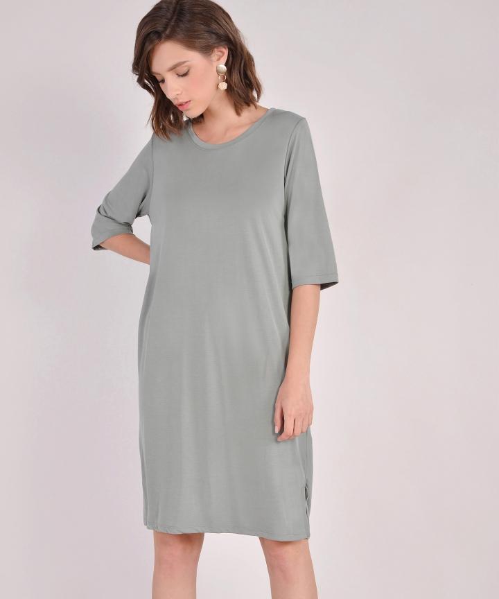 Riley Oversized T-Shirt Dress - Sage Grey