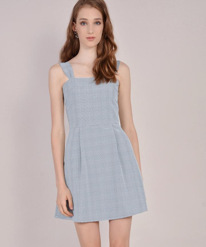 Edith Checkered Dress - Pale Blue