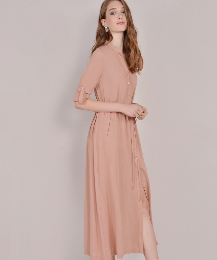 Abbey Button-Down Maxi - Pale Terracotta