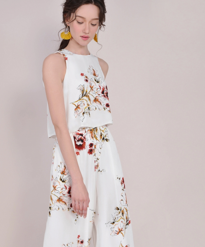 Spruce Floral Jumpsuit - White