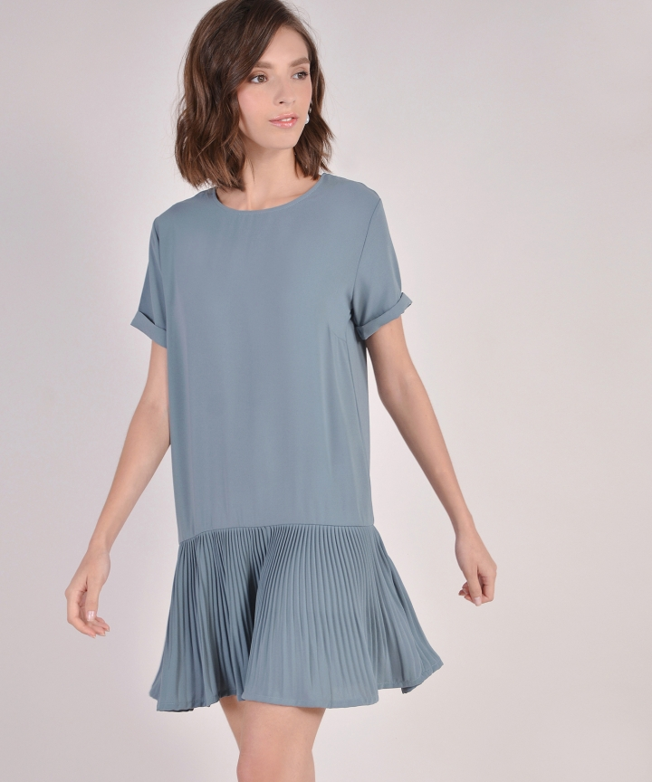 Sadie Pleated Hem Dress - Dust Turquoise