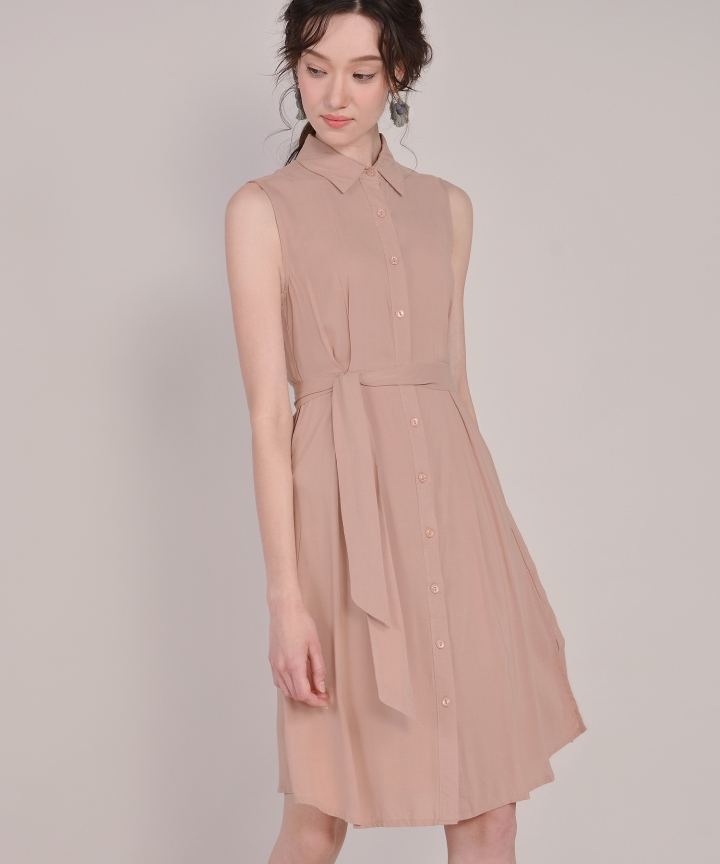 Matilda Button-Down Shirtdress - Pale Terracotta