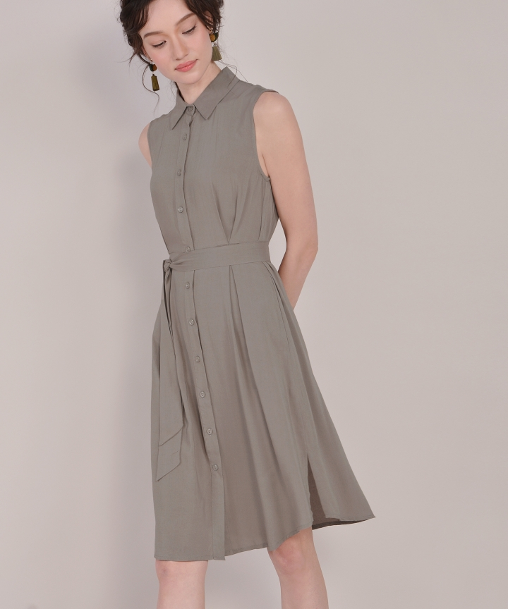 Matilda Button-Down Shirtdress - Dust Olive
