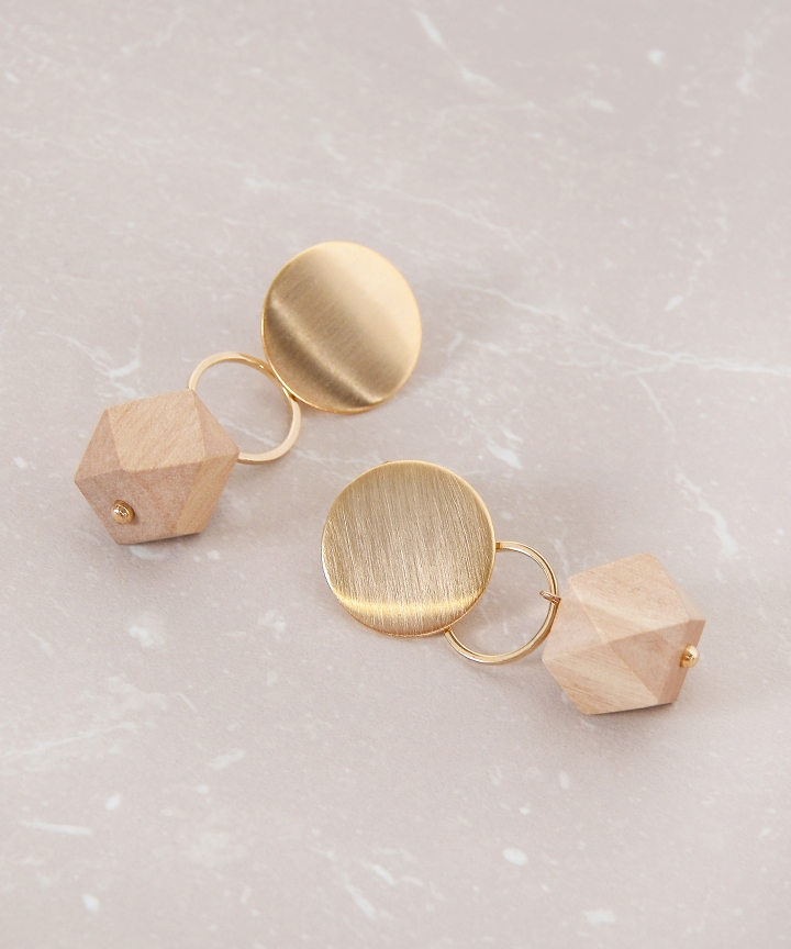 Pentagon Metallic Earrings - Brown