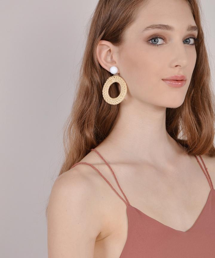 Rattan Circle Earrings